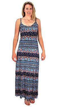 Navy Floral Spaghetti Strap Summer Maxi Dress