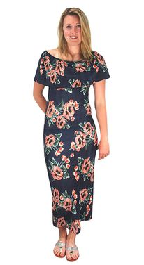 Navy Floral Print Pleat Fabric Off Shoulder Maxi Dress