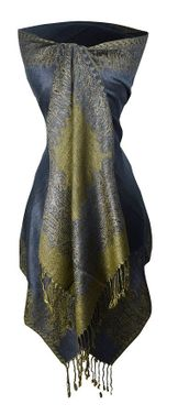 Navy Ravishing Reversible Pashmina Shawl with Braided Fringe