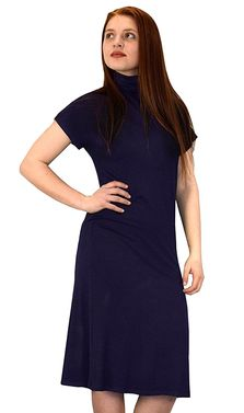 Navy Turtle Neck Short Sleeve Midi Dress