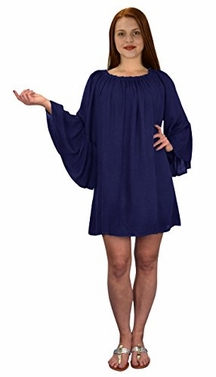 Navy Off Shoulder Flutter Sleeve Beach Cover Ups Tunic Dress
