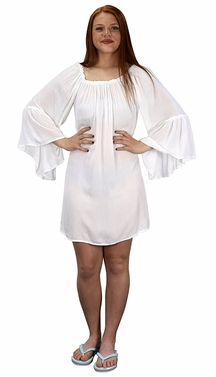 Off White Shoulder Flutter Sleeve Beach Cover Ups Tunic Dress
