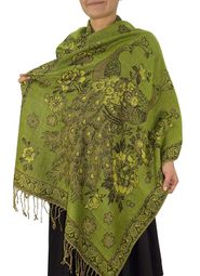 Olive Floral Peacock Reversible Pashmina Wrap Shawl Scarf