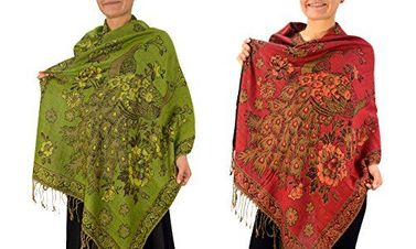 Olive Red Floral Peacock Reversible Pashmina Wrap Shawl Scarf in 2 Pack