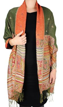 Olive Tribal Reversible Pashmina Wrap Shawl Scarf