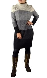 Grey Ombre Cable Knit Cowl Neck Sweater Dress