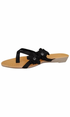 Black Open-Toe Flower Strap Womens Sandals Dress Flip Flops
