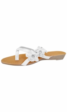 White Open-Toe Flower Strap Womens Sandals Dress Flip Flops
