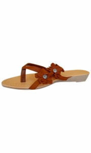 Brown Open-Toe Flower Strap Womens Sandals Dress Flip Flops