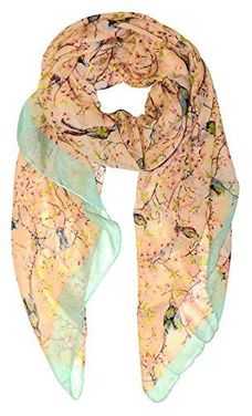 Orange Vintage Floral Print Bird Print Light Scarf Scarf
