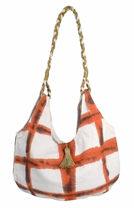 Orange Cotton Canvas Rope Accent Handle Hobo Bags Beach Boat Bag