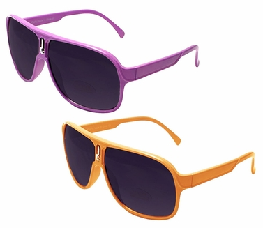 Over-sized Aviator Style Sunglasses with Thick Colorful Frame (2 Pack Purple and Orange)