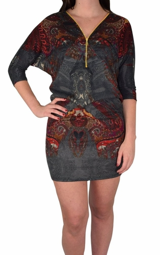 Grey Red Paisley Pullover Zip-Neck Fall Dolman Top Dress