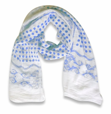 Black White Paisley Bordered Polka Dot Print Lightweight Eyelash Fringe Scarf (Blue)