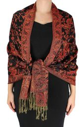 Black Red Reversible Paisley Floral Shawl