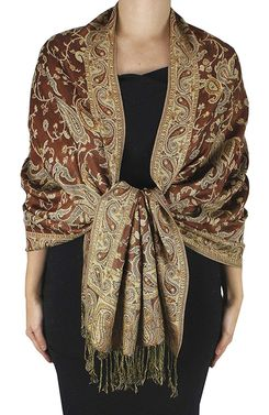 Brown Reversible Paisley Floral Shawl