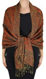 Rust Reversible Paisley Floral Shawl