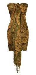 Orange Forest Green Reversible Paisley Floral Shawl