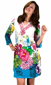 Peach Couture 100% Cotton Bohemian Floral Summer Tunics Beach Cover Ups Blue Fuchsia