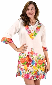 Peach Couture 100% Cotton Bohemian Floral Summer Tunics Beach Cover Ups Orange