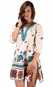 Peach Couture 100% Cotton Bohemian Floral Summer Tunics Beach Cover Ups Turquoise