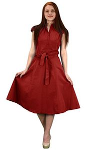 Peach Couture 100% Cotton Button Up Vintage A-Line Swing Dress Fabric Belt Red