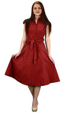 Red 100% Cotton Button Up Vintage A-Line Swing Dress Fabric Belt