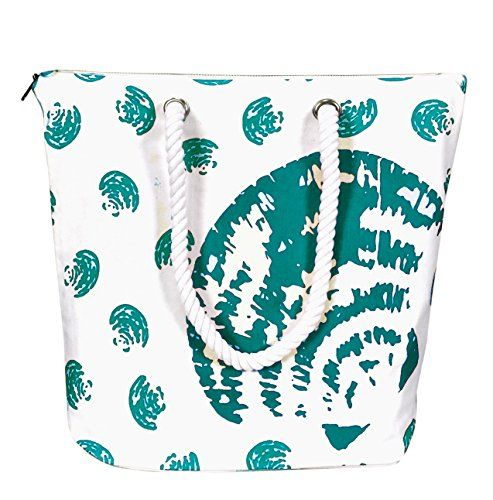 Green 100% Cotton Canvas Handbag Picnic Boat Bag Seashell Print