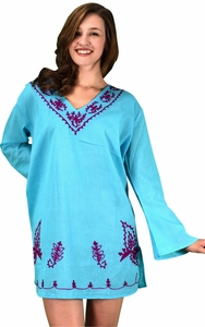 Sky Blue 100% Cotton Embroidered Summer Tunics Beach Cover Ups