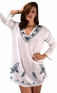 White 100% Cotton Embroidered Summer Tunics Beach Cover Ups
