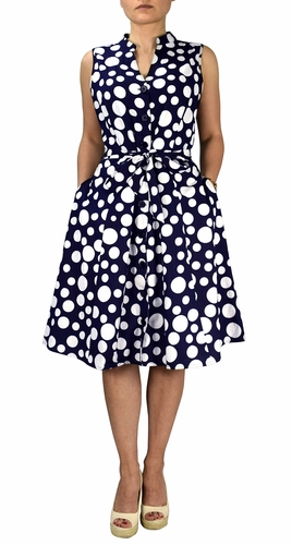 100% Cotton Mid Length Vintage A-Line Dress (Polkadot Navy)
