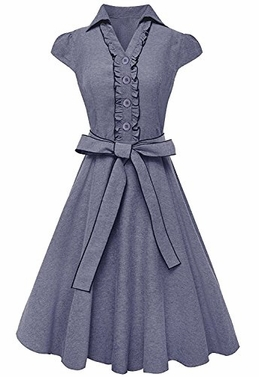 Denim 100% Cotton Ruffle Neck Cap Sleeve Knee Length Sundress Small