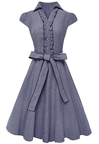 100% Cotton Ruffle Neck Self Tie Cap Sleeve Knee Length Sundress Denim Large