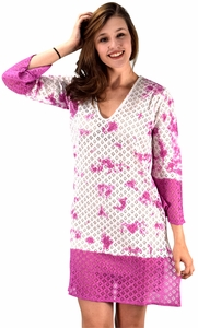 Fuchsia 100% Cotton Womens Crochet Lace Tunics Summer Cover Ups Beach Wear