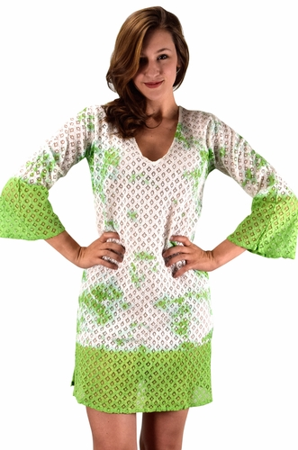 Green 100% Cotton Womens Crochet Lace Tunics Summer Cover Ups Beach Wear