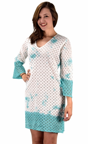 Teal 100% Cotton Womens Crochet Lace Tunics Summer Cover Ups Beach Wear