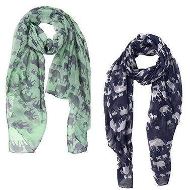 Peach Couture 2 Pack Chic Trendy Lightweight Animal Print Elephant Wrap Scarf Shawl 2 Pack