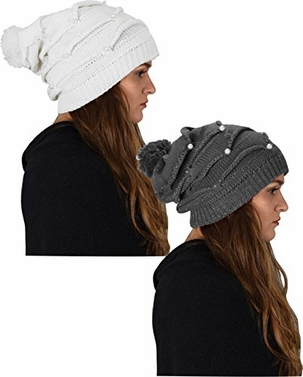 White Grey 2 Pack Knitted Hat Chunky Soft Stretch Cable Knit Slouchy Beanie Skully with Pearls