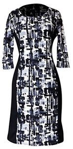 Peach Couture 3/4 Sleeves Chic Printed Work Business Party Sheath Slimming Dress Abstract L