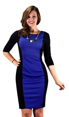 Blue Black 3/4 Sleeves Printed Party Sheath Slimming Dress