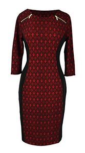 Burgundy 3/4 Sleeves Printed Party Sheath Slimming Dress