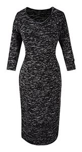 Peach Couture 3/4 Sleeves Chic Printed Work Business Party Sheath Slimming Dress Marled XL