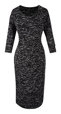 Marled 3/4 Sleeves Printed Party Sheath Slimming Dress XL