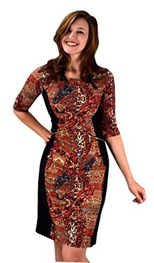 Paisley 3/4 Sleeves Printed Party Sheath Slimming Dress XL