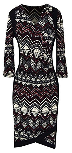 Tribal 3/4 Sleeves Printed Business Party Sheath Slimming Dress