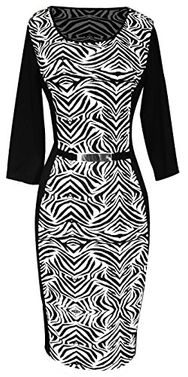 Zebra 3/4 Sleeves Printed Work Business Party Sheath Slimming Dress