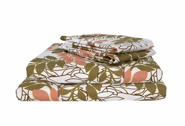 Peach Brown 400 Thread Count Printed Leaf King Sheet Set