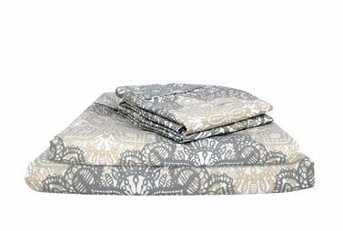 Grey White 400 Thread Count Printed Celtic Queen Sheet Set