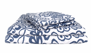 Classic Blue 400 Thread Count Printed Classic Blue Queen Sheet Set