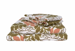 Brown 400 Thread Count Printed Leaf Queen Sheet Set